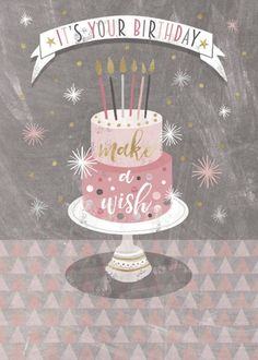 Beautiful Birthday Card For Daughters Featuring A Cake And