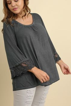 8ffe0da7b06 Umgee plus size gray lace trimmed long angel sleeve top WN5037. By Umgee.  Item