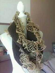 Echarpe multitour en laine marron et dorée