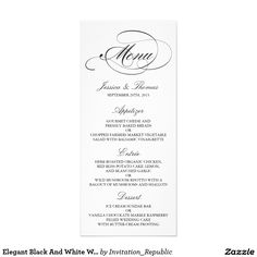 Elegant Black And White Wedding Menu Templates Rack Cards Wedding Dinner Menu, Wedding Menu Cards, Wedding Programs, Wedding Stationery, Diy Wedding Program Template, Menu Card Template, Menu Templates, Sundae Bar, Candy Bar Wrappers