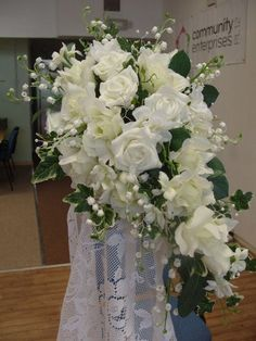 SNOWFLAKE Cascade Bouquet Ivory & White with Roses Lily