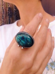 Handmade sterling silver ring with labradorite cabochon and message... believe. Labradorite cabochon. Sterling silver ring.