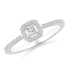 Floating Princess-Cut Diamond Halo Promise Ring