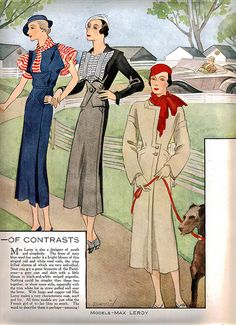 Three wonderful springtime looks from Woman's Journal May 1933. #vintage #1930s #fashion #illustrations