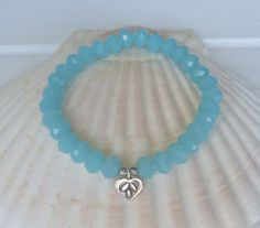 beachcomber light aqua crystal bracelet sterling silver hill tribe charm by beachcomberhome, $20.00