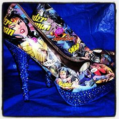 www.etsy.com/shop/TheRealHellOnHeels Who doesn't want these? Fun blinged out comic book shoes!