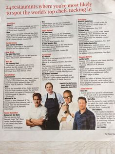 Chefs' favourite places to eat out