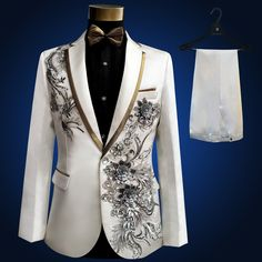 Plus Size high quality Vintage Medieval White Embroidered with diamonds stage performance singer Suit & Blazer Costumes S-3XL