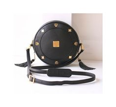 008d7588c1 MCM Tambourine Black Leather shoulder handbag authentic vintage Bag by  hfvin on Etsy  mcm