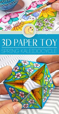 An absolute fun Paper Toy to Color, Craft and Play with! Turn this Paper Toy Spring Kaleidocycle endlessly. Templates and tutorial available here! Paper Crafts Origami, Paper Crafts For Kids, Easy Crafts, Arts And Crafts, Oragami, Printable Paper Crafts, Diy Origami, Diy For Kids, Halloween C