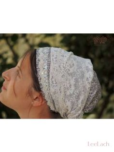This Unique handmade White Silver Sparkle Tichel/Mitpachat (hair covering) by Sara. Its very comfortable and can be worn for many different ...