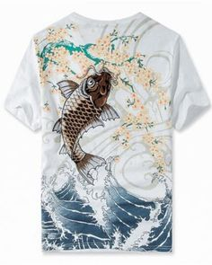 38a2e792ccd Japanese Koi t shirt with Embroidery for men waves Cherry blossom tee Carp  Tattoo