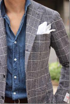 Denim downplays a formal jacket