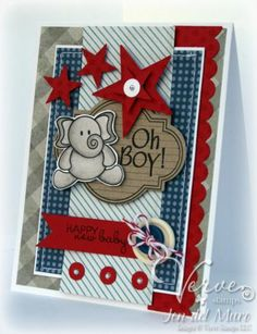 #patriotic card. great design using patriotic colors for a baby boy. For My handmade greeting cards visit me at My Personal blog: http://stampingwithbibiana.blogspot.com/