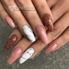 Nails Coffin Marble Glitter Ideas For 2019 Long Nail Art, Trendy Nail Art, Coffin Nails Long, Long Nails, Long White Nails, Acrylic Nail Designs, Nail Art Designs, Nail Extensions Acrylic, Square Oval Nails