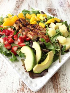 Tropical Chicken Salad & Honey Balsamic Vinaigrette — The Skinny Fork (super simple, half the vinaigrette is used as a marinade for the chicken)