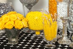 Nuts.com Silver, Yellow, Black, and White Candy Buffet #nutsdotcom and #wedding
