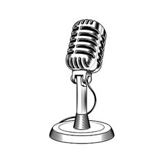 Vintage microphone at vector online clipart free