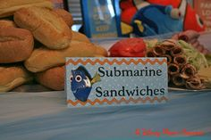 A Disney Mom's Thoughts: Finding Nemo First Birthday Party Food, Submarine Sandwiches