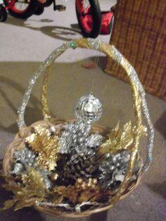 Homemade Holiday Basket. Lights up