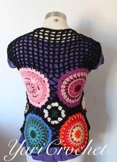 Chaleco crochet hippie colores
