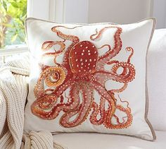 La Paz Jeweled Octopus Pillow Covers A) Giftable items I love nautical themed throw pillows! VS used to have throw pillows when I was in highschool and I had a multi-colored one that I loved. Coral Throw Pillows, Decorative Throw Pillows, Nautical Pillows, Decor Pillows, Nautical Nursery, Floral Pillows, Accent Pillows, Kraken, Cushion Covers