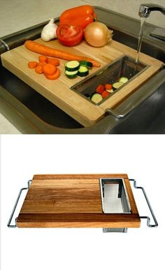 Sink Cutting Board by ursula accessories gadgets 75 Kitchen Decorating Ideas 2017 Kitchen Items, Kitchen Gadgets, Kitchen Appliances, Office Gadgets, Kitchen Organization, Kitchen Storage, Bench Storage, Wood Projects, Woodworking Projects