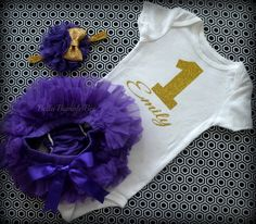 Baby Girl First Birthday Purple and Gold Outfit by BellaBumbleBee