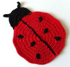 Lady Bug Crochet Dishcloth – Maggie Weldon Maggies Crochet ~ free pattern
