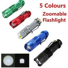 5 Colors Flash Light 300LM Q5 LED Camping Flashlight Torch Adjustable Focus Zoom waterproof flashlights Lamp