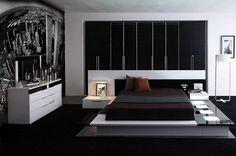 chambre noire et blanche de design ultra-moderne avec poster New York