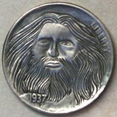 JON DAKE - BEARDED MAN* - 1937 BUFFALO NICKEL Bearded Men, Buffalo, Classic Style, Carving, Scrapbook, Artist, Men Beard, Wood Carvings, Artists