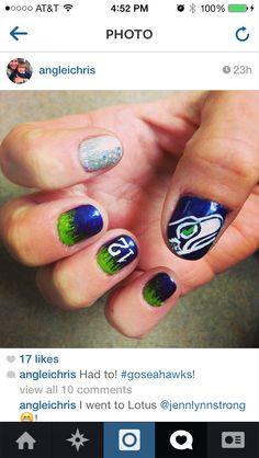 My friends Seahawks inspired manicure!! Love it!!!!