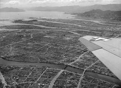 Aerial view of Hiroshima Japan one year after the atomic bomb blast shows some small amount of reconstruction amid much ruin on July 20 1946.