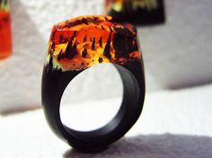 "Geppetto Jewelry presents: Wood ring ""Forest fire"".  Wooden rings for women.  Wood resin ring.  Fashion resin jewelry.  Statement ring."