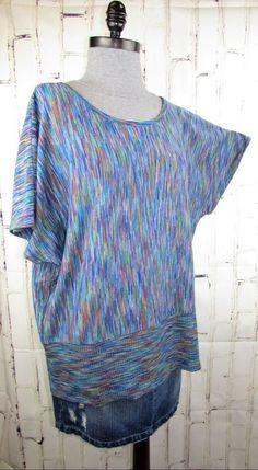 e20530108c63 Faded Glory womens Sweater 2X 18/20 Multi Space Dye Dolman Short Sleeve Top  XXL #FadedGlory #PulloverSweater #Any