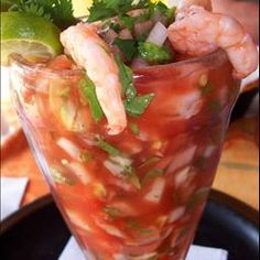 Mexican Shrimp Cocktail - I always love a good Coctel De Camaron...I would add a little Fanta to this like they do in Mexico....also, you can add vodka like at the Bloody Mary bar at Ozona's in Dallas on a Sunday!