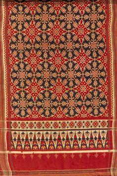 "Indian, ""Patola Sari,"" Indianapolis Museum of Art, Emma Harter Sweeter Fund, Ikat Fabric, Cool Fabric, Traditional Fabric, Traditional Art, Textile Prints, Textile Art, Indianapolis Museum, Indian Textiles, Indian Patterns"