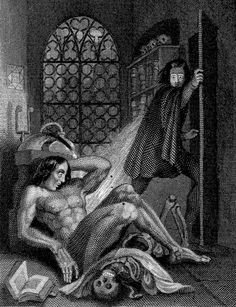 "Frankenstein observing the first stirrings of his creature. ""Engraving by W. Chevalier after Th. von Holst, 1831. Featured as frontispiece to the 1831 edition of Shelley's novel""  Source: Wellcome Library."