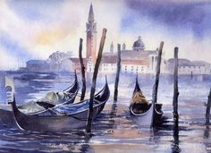 San Giorgio and Gondolas by artbyrachel Watercolor Paintings Nature, Watercolor Canvas, Watercolours, Venice Canals, Amazing Drawings, Landscape Art, Beautiful Birds, Canvas Wall Art, Scenery