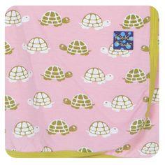 Kickee Pants Girls Swaddling Receiving Blanket, Lotus Turtle
