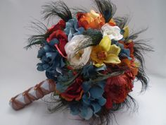 EVER AFTER Wedding Bouquet With Peacock Feather by Ardesign. $150.00, via Etsy.