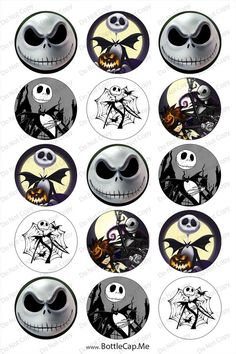 Nightmare Before Christmas jack 1inch Round by DavidsBottleCap, $2.00