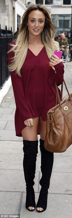 Stunning style: Charlotte - who is currently dating Love Island winner Max Morley - showcased her incredible figure in a burgundy waterfall-effect mini dress