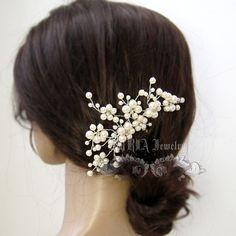 Wedding Hair Accessory,Ivory Pearls Floral Vine Silver Bridal hair Comb White Swarovski Pearls Rhinestone Brides Bridesmaid haarkamm H018-