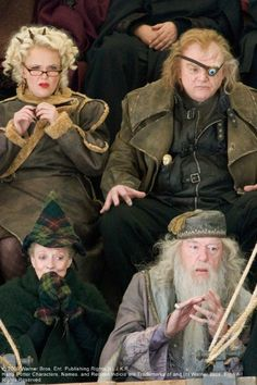 Rita Skeeter (Miranda Richardson), Alastor 'Mad-Eye' Moody (Brendan Gleeson), Minerva Mcgonagall (Maggie Smith), Albus Dunbledore (Michael Gambon) spectators at the Tri-Wizard Tournament in Harry Potter and the Goblet of Fire (2005)