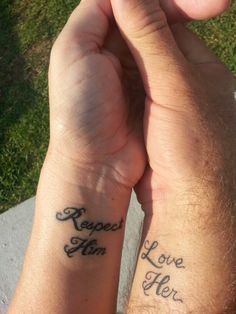 Husband and wife tattoo. Couples tattoo. Ephesians 5:33 tells the husband to love his wife and tells the wife to respect her husband. Couples tattoos.