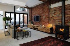 Log Burner Living Room, Open Plan Kitchen Living Room, Home Living Room, Living Room Designs, Brick Feature Wall, Brick Wall Tv, Living Room Brick Wall, Living Room Decor Inspiration, Exposed Brick Walls