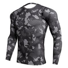 Crossfit Compression Sport Shirt Men Long Sleeve Camouflage Fitness 3D  Quick Dry Men s Running T-shirt Gym Clothing Top Rashgard 038cf06e84a7