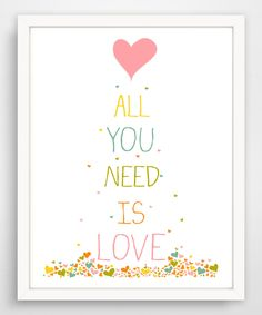 'All You Need Is Love' Confetti Hearts Print by Finny and Zook #zulily #zulilyfinds